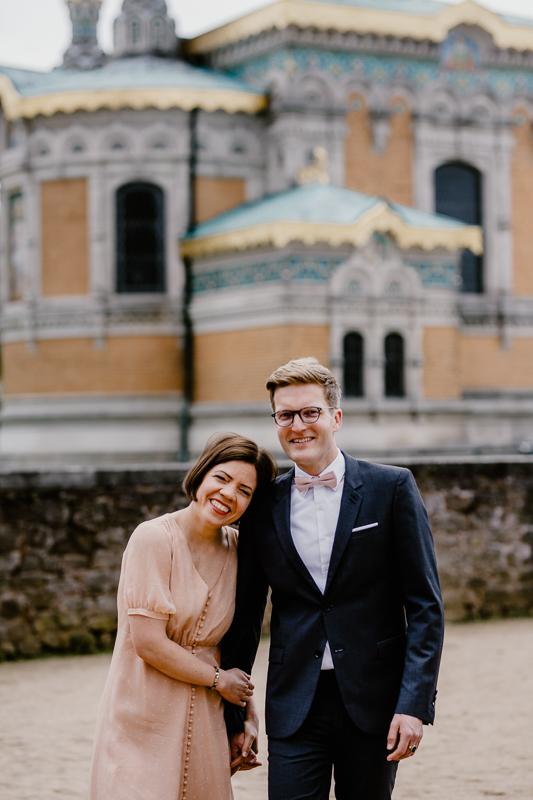 Brautpaar vor der russischen Kapelle auf der Mathildenhöhe